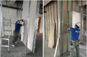輕隔間是一種採用質量輕的鋼架做為骨架,再搭配板材而加以拼接成的隔間工程。圖/戴雲...