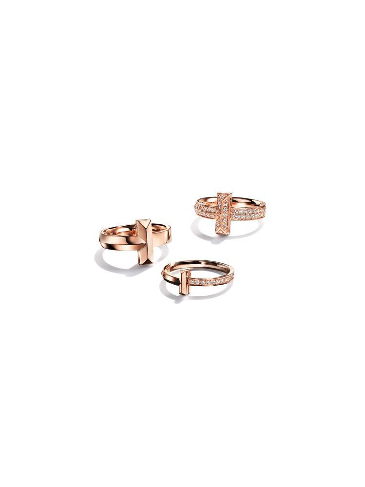 (由左至右)Tiffany T1系列戒指,67,000元、53,000元、17萬...