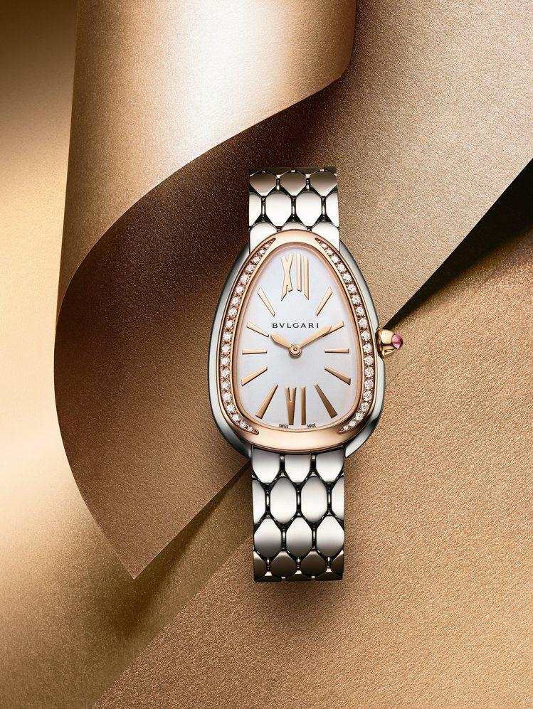 BVLGARI Serpenti Seduttori精鋼與玫瑰金鑲鑽腕表,34萬...