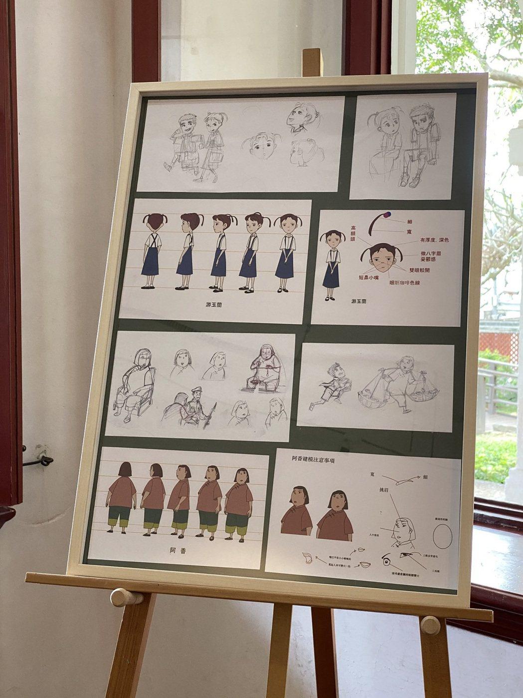 金馬獎導演康進和動畫手稿。圖 / 淡水古蹟博物館提供