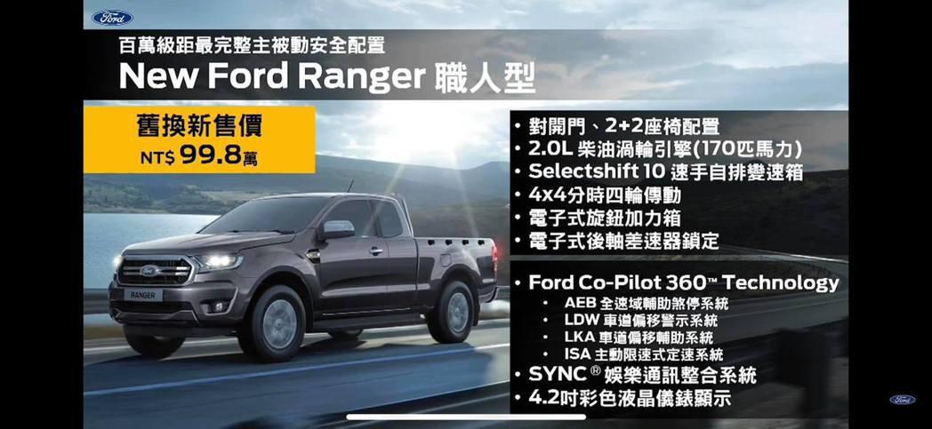 全新推出Ford Ranger職人型。 截自發表會直播