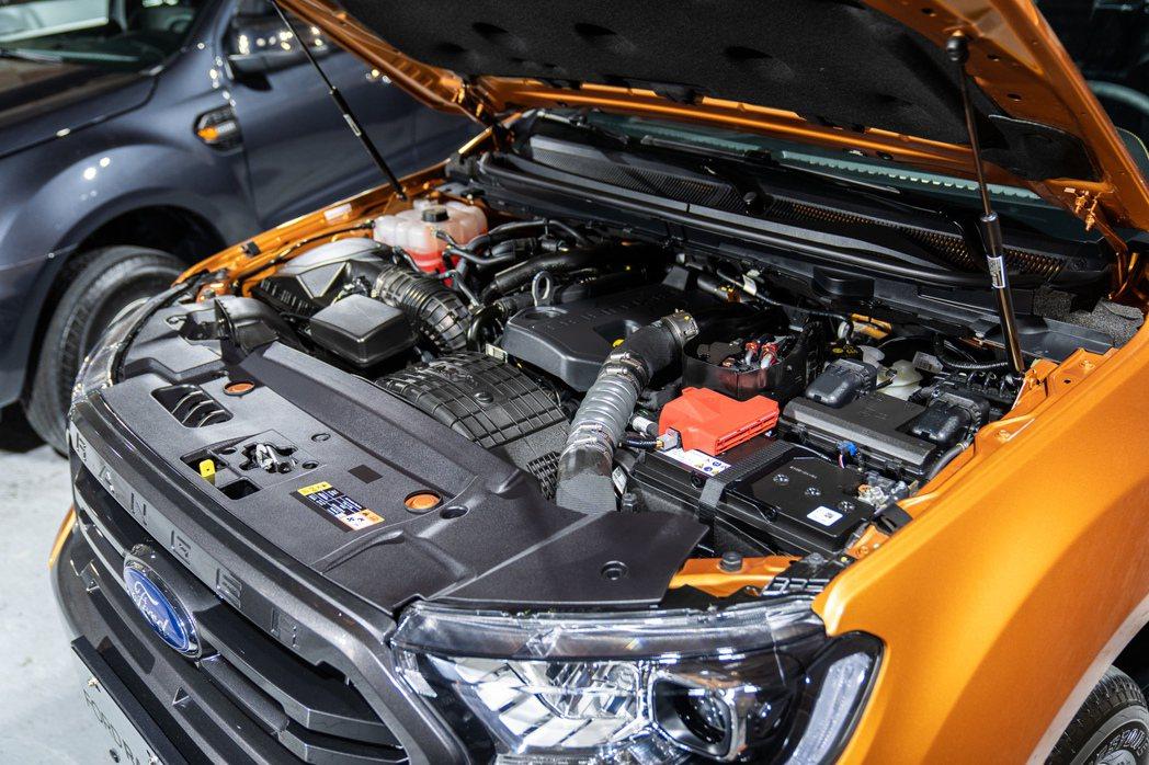 New Ford Ranger運動型搭載2.0L直列四缸柴油雙渦輪引擎。 圖/福...
