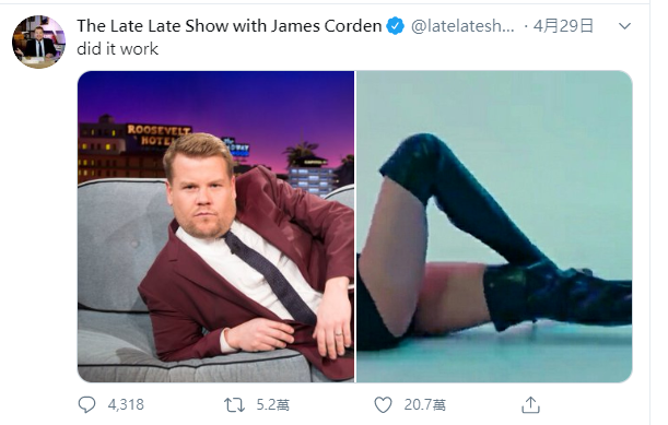圖/截自The Late Late Show with James Corden...