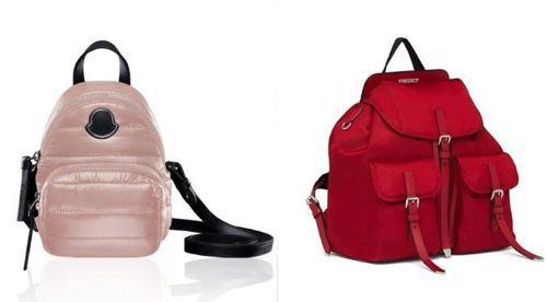 (左)KILIA粉色後背包,16,200元。(右)紅色尼龍後背包,43,000元...