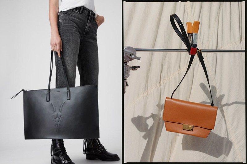 英倫時尚品牌AllSaints這一季推出兩款截然不同的系列包款,展現品牌態度之外,也蘊含優雅氣質的一面。圖/AllSaints提供