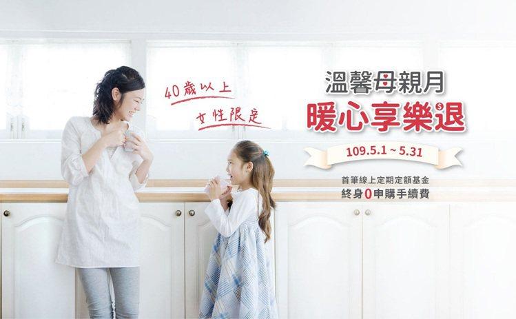 兆豐銀行推出溫馨母親節「女性限定」理財優惠,線上投資定期定額基金,首筆免收申購手...