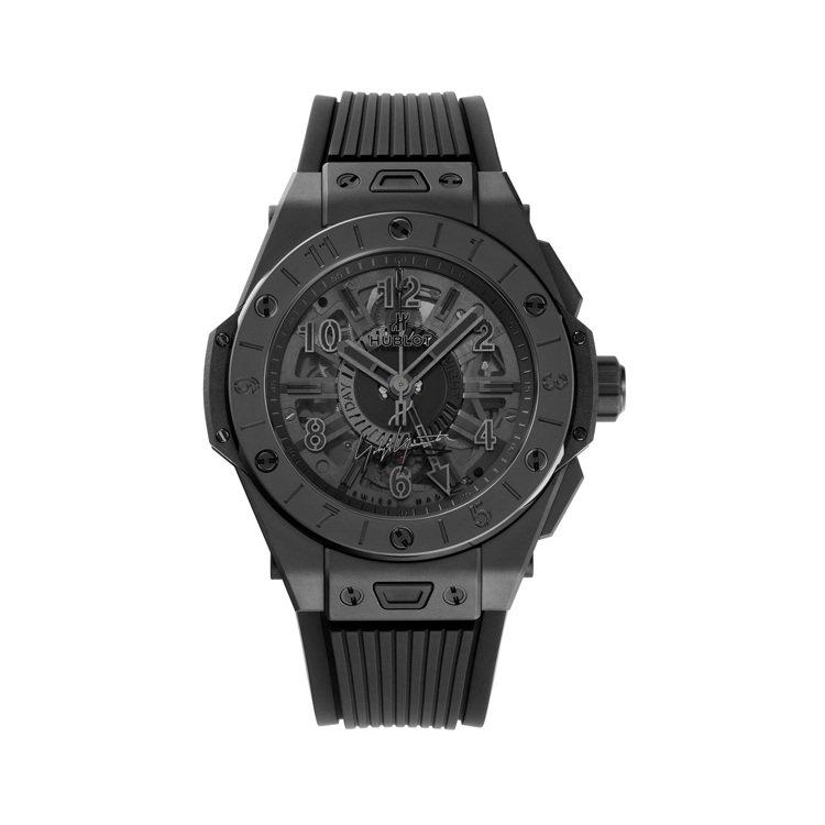 HUBLOT BIG BANG GMT全黑山本耀司聯名腕表,約275萬日圓。圖/...