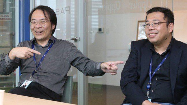 沛星互動科技獨立董事簡立峰(左)、創辦人兼執行長游直翰(右)。記者曾學仁/攝影