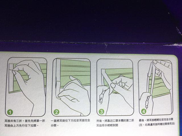 圖為專利版Z褶口罩拆出綁帶的步驟。擷自PTT