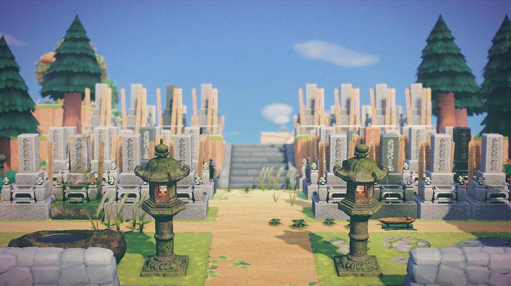 有日本玩家在動物之森內建設了一個超擬真墳場,近看還真有幾分可怕!(twitter...