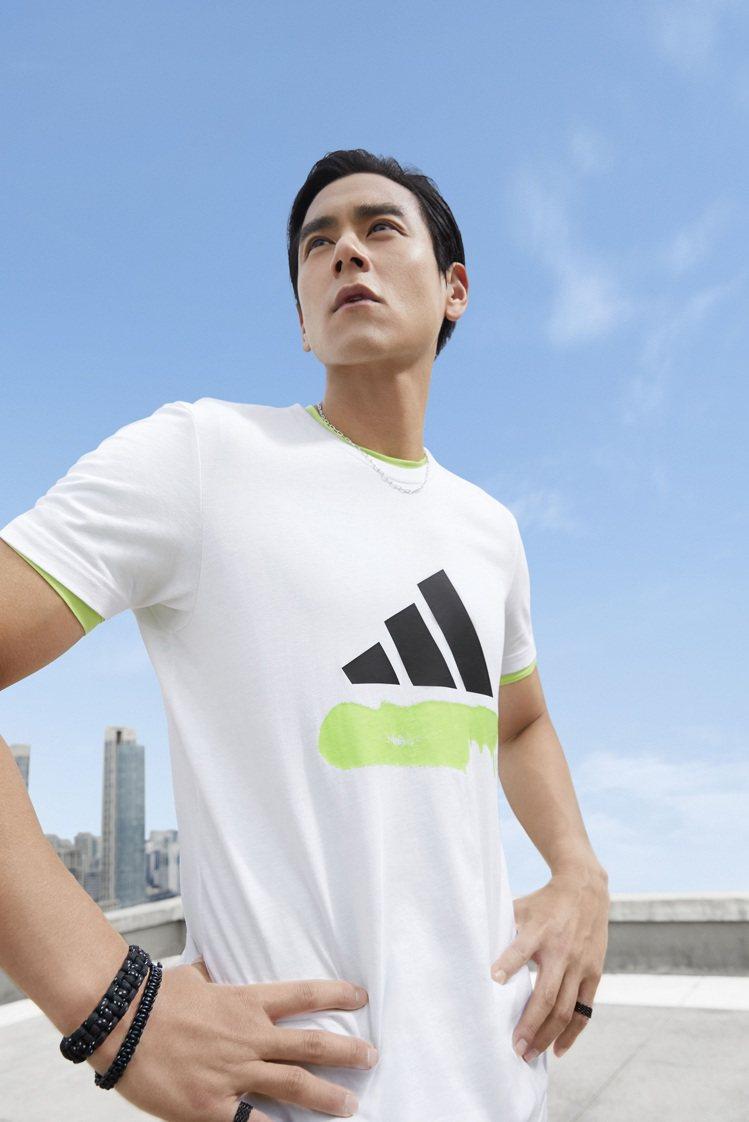 彭于晏詮釋adidas本季極簡Logo T恤。圖/adidas提供