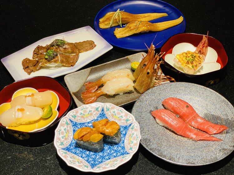大漁まぐろ壽司針對7款壽司推出「買1送1」的開幕優惠。圖/大漁まぐろ壽司提供