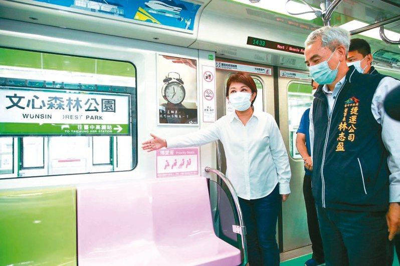 市長盧秀燕(左)日前視察台中捷運綠線;中捷公司表示「合理且具幸福感」的運價為優先考量。 圖/台中市新聞局提供