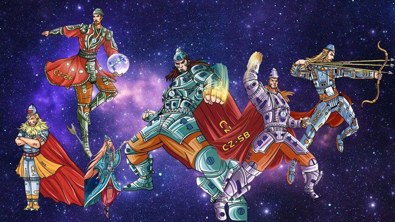 中國航天科技集團7日在網上發布一系列「火箭群俠傳」漫畫,以擬人手法描繪1970年長征一號至今的12個「長征」系列火箭。 圖/中國航天科技集團微博