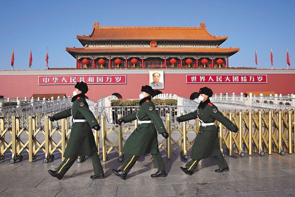 北京的天安門。 歐新社