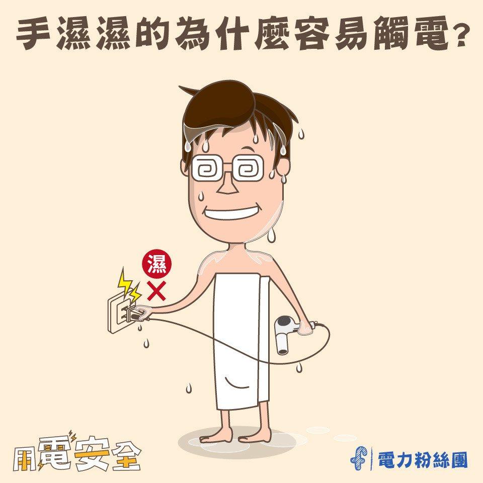 通過人體的電流大小,取決於承受電壓除以人體形成迴路的總電阻而定。 圖/電力粉絲團...