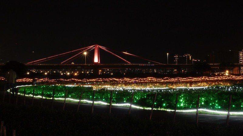 光復橋的夜晚也被點綴的裝扮,美極了。