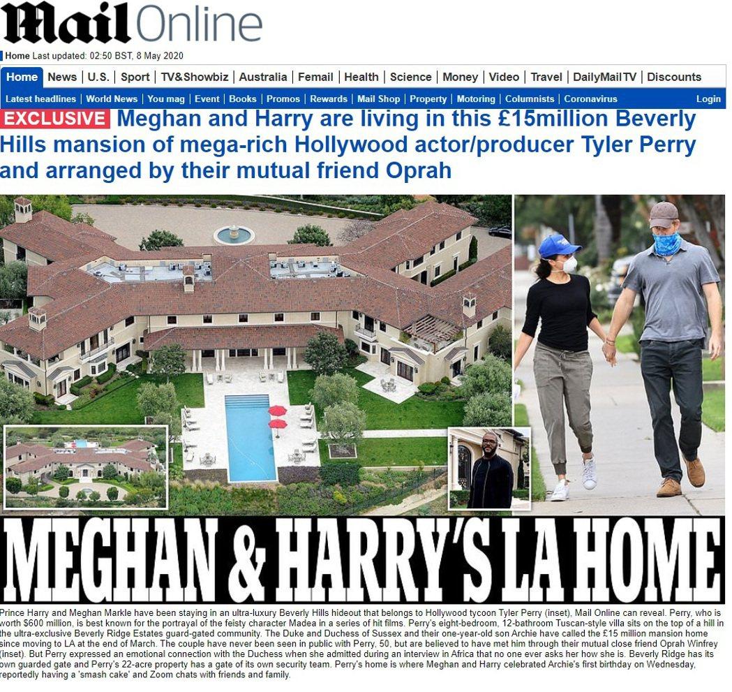 哈利王子和梅根的美國住家,據傳是這棟屬於超有錢男星的豪宅。圖/摘自Daily M...