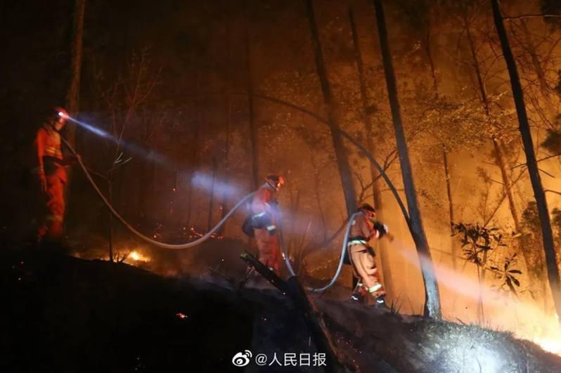 木里縣的山火,火場面積達270公頃。(微博)