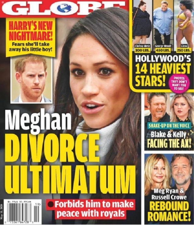 八卦刊物指梅根拿離婚來威脅哈利王子不准與英皇室和好。圖/摘自Globe