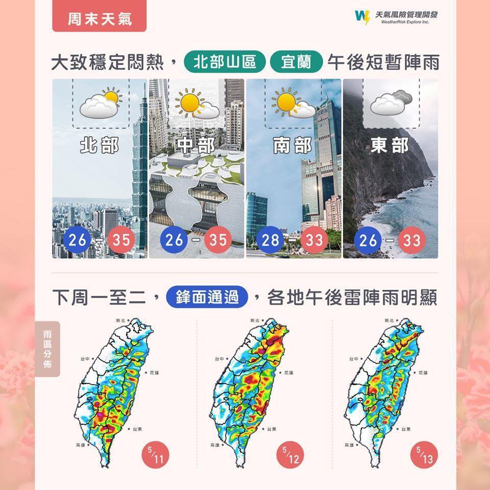 未來幾天天氣概況。圖/取自臉書「氣象達人彭啟明」