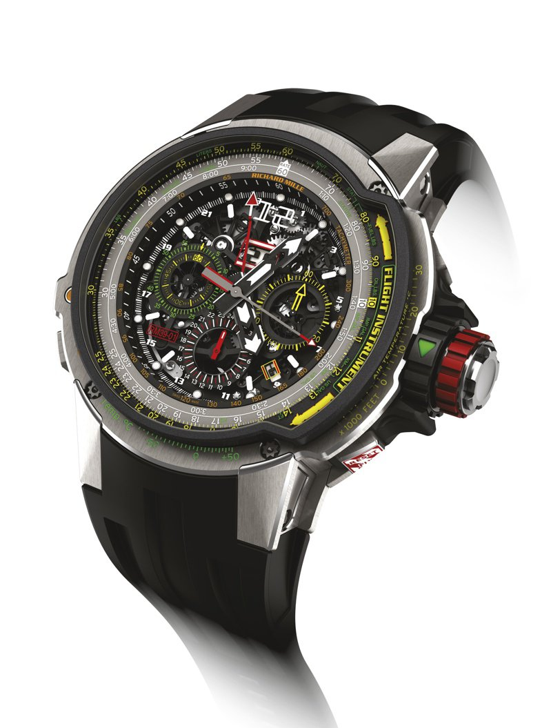 RICHARD MILLE,RM 39-01腕表,特殊的E6-B飛行計算器,對飛行員的精密計算有實際幫助。五級鈦合金,時間顯示、飛返計時、鎖定功能錶冠、旋轉錶圈,約499萬。圖 / RICHARD MILLE提供。