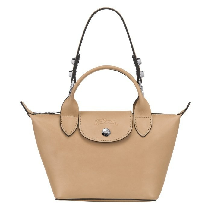 LONGCHAMP Le Mini Pliage Cuir奶茶色手提包,18,3...