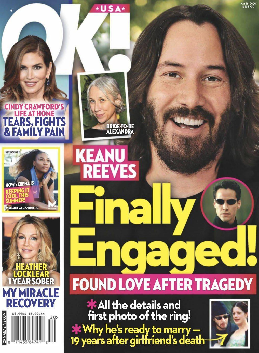基努李維被八卦刊物以封面報導,指他和女友已經訂婚。圖/摘自OK!