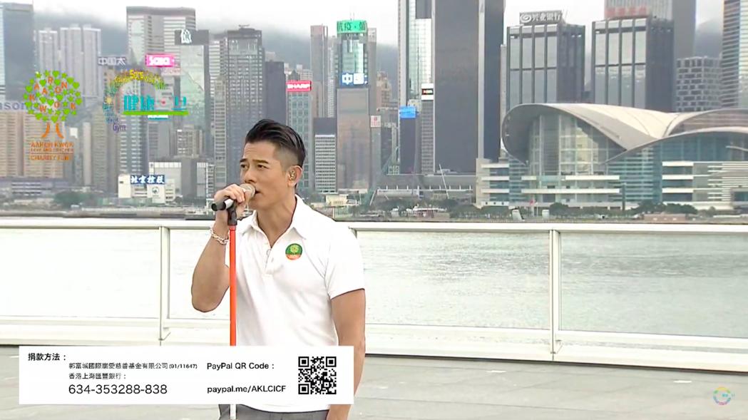 郭富城今天於尖沙咀海港城舉辦「鼓舞.動起來網上慈善演唱會」,為專業舞蹈員及電影幕