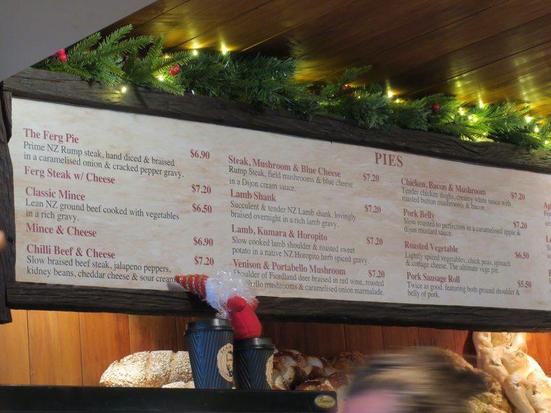 紐西蘭的皇后鎮(Queenstown) Ferg Burger漢堡店的目錄