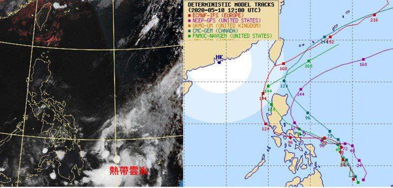 今晨5時雲圖顯示,在菲律賓東方海面的低壓雲系正在發展中(左)。最新各國模式模擬路徑相當分歧,有在菲律賓東方海面即向北迴轉的,也有先進入南海再向北迴轉的(右)。圖/取自「三立準氣象.老大洩天機」專欄、Multi-Agency TC Forecast