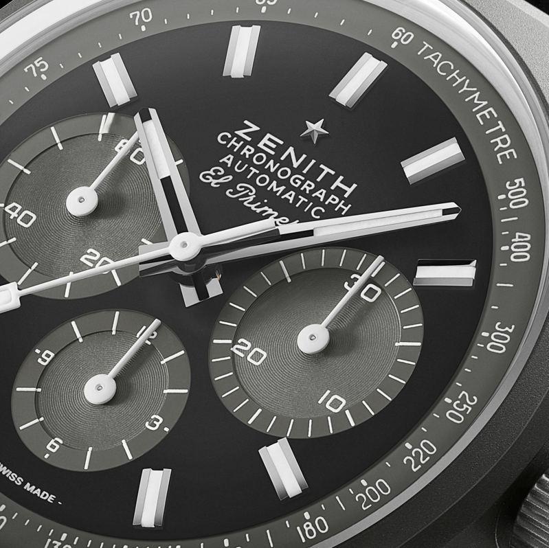 ZENITH CHRONOMASTER復刻版「暗影」腕表深受1970年黑色計時碼錶原型的啟發。圖/真力時提供