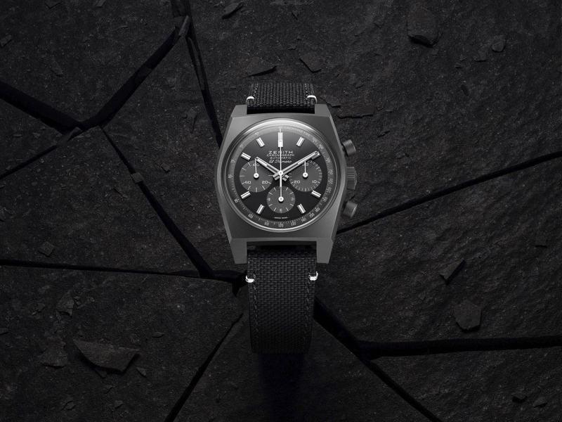 ZENITH CHRONOMASTER復刻版「暗影」腕表,定價8,000瑞士法郎。圖/真力時提供