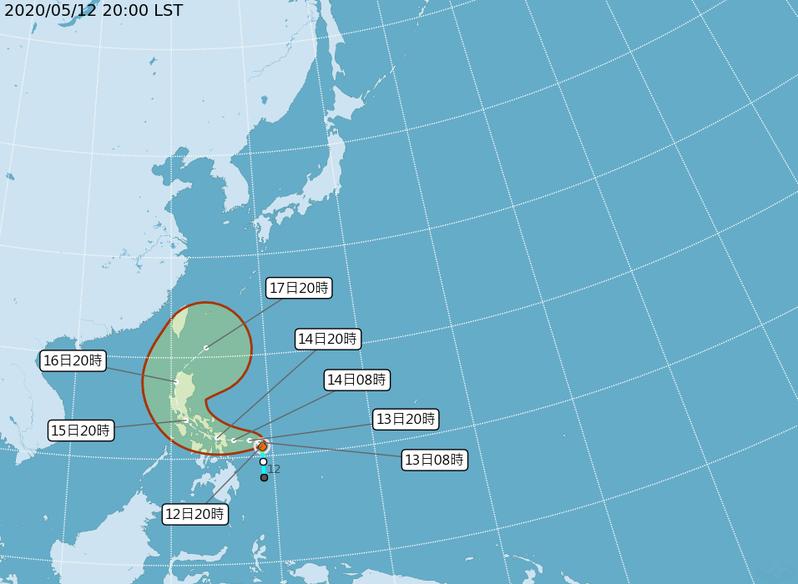 第1號颱風黃蜂,未來將先向西北西往菲律賓中北部移動。圖/氣象局提供