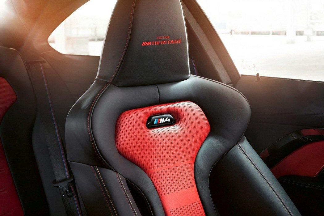 BMW M專屬雙前座跑車座椅繡上Edition M Heritage字樣。 圖/...