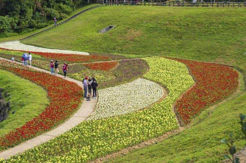 前往圓覺寺步道途中,可先經過大溝溪溪畔生態治水園區,佈滿花卉,非常美麗。 圖/臺北市政府工務局水利工程處