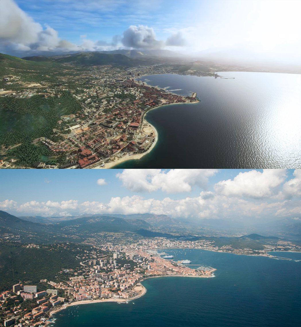 遊戲(上)vs 真實世界(下),法國科西嘉島的阿雅克肖市。