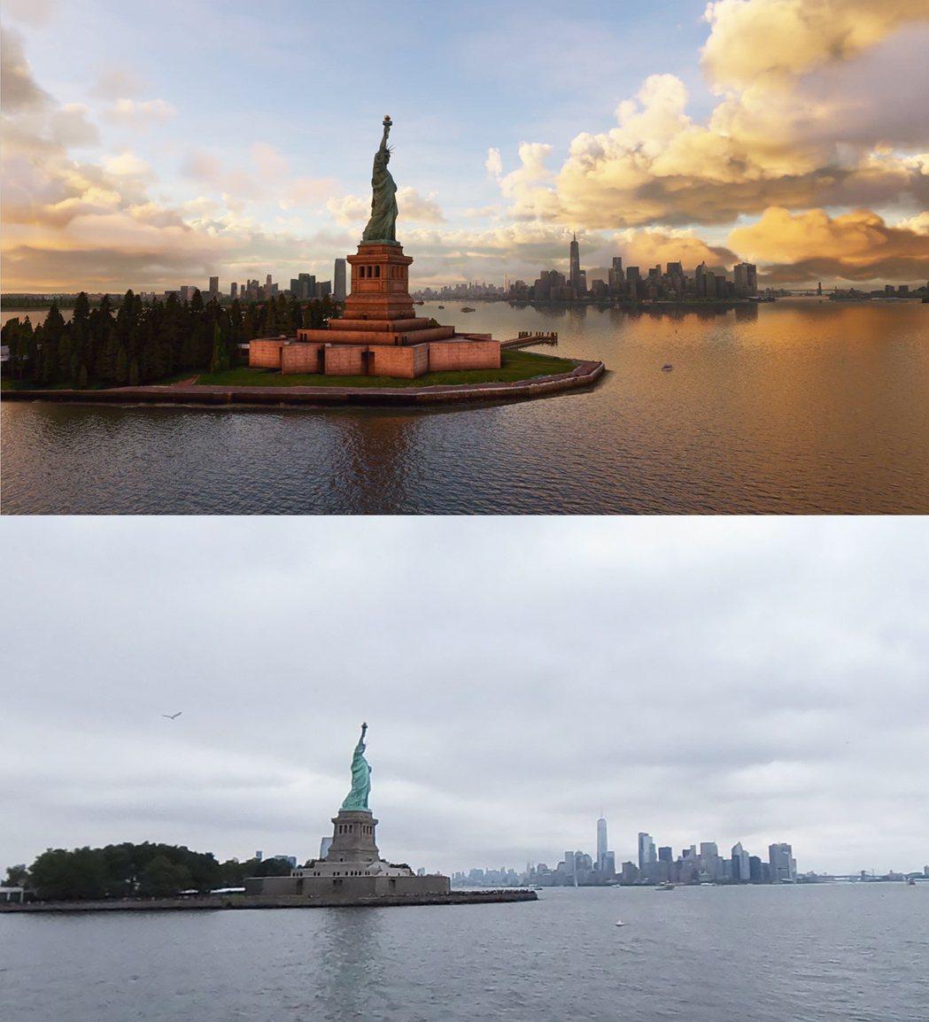 遊戲(上)vs 真實世界(下),美國紐約。