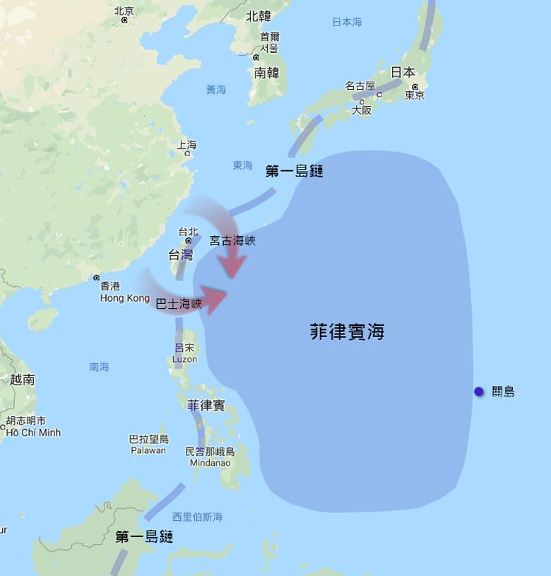 菲律賓海示意圖。 圖/Google map、作者製圖