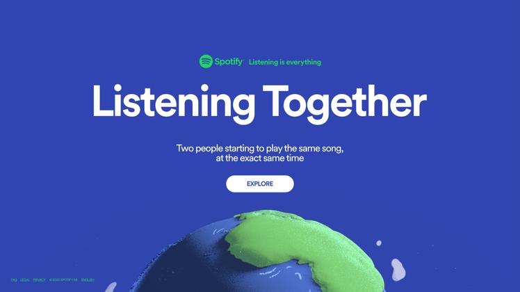 Spotify推出「Listening Together」活動網頁,點選地圖即可...
