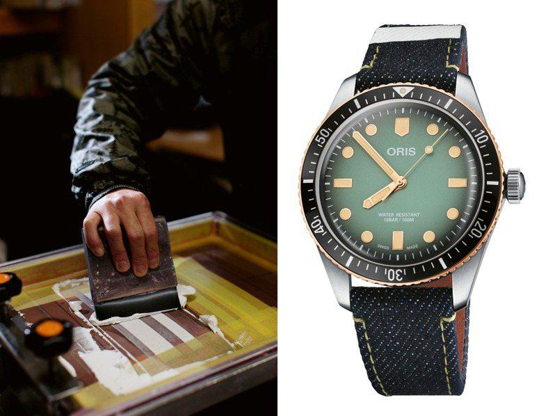 採用日本知名丹寧品牌Momotaro Jeans錶帶的ORIS Divers限量聯名錶款,散發鮮明潮流味。圖 / ORIS提供。