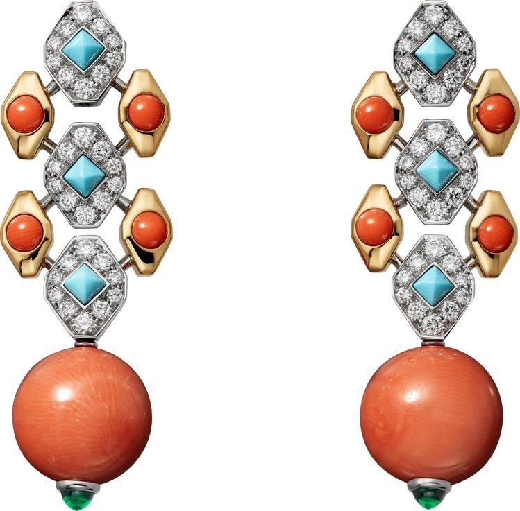卡地亞全新Magnitude頂級珠寶系列作品FARANDA珊瑚耳環,鉑金與黃K金...