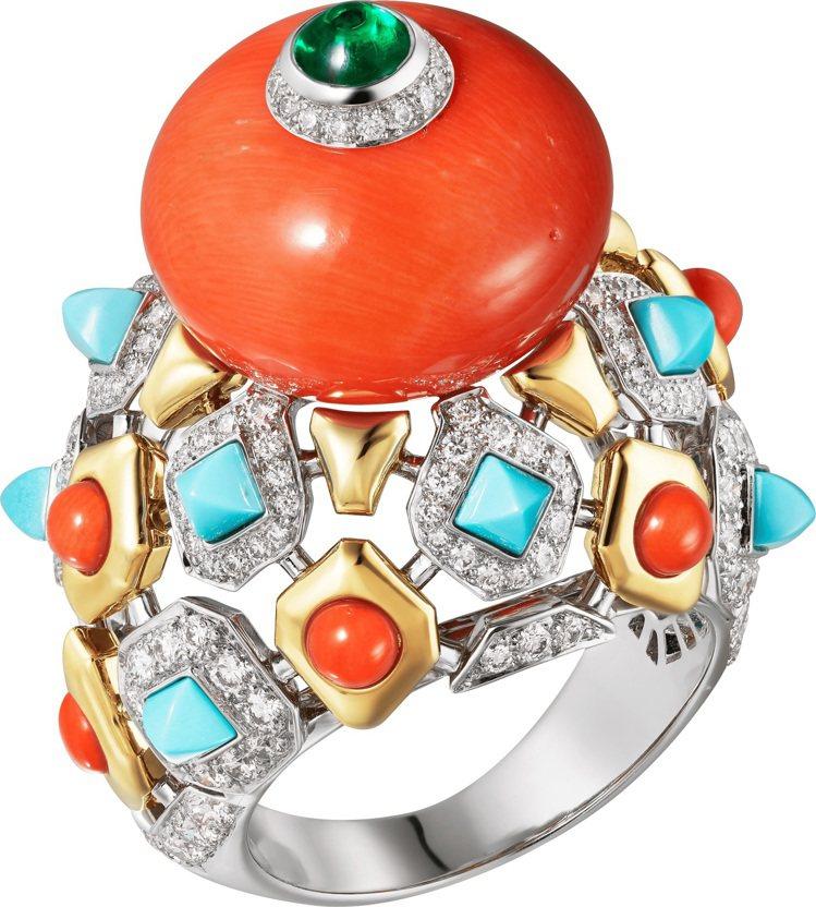 卡地亞全新Magnitude頂級珠寶系列FARANDA珊瑚戒指,鉑金與黃K金鑲嵌...