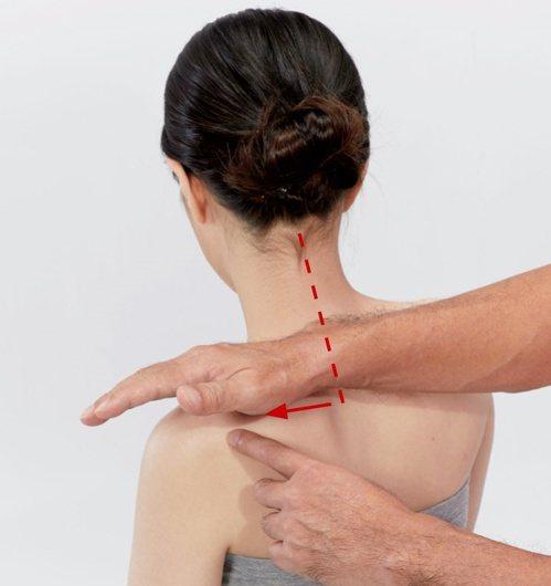 肩頸痠痛:以同樣方式由內往外揉至止端(肩峰)。 圖/蘋果屋出版社提供