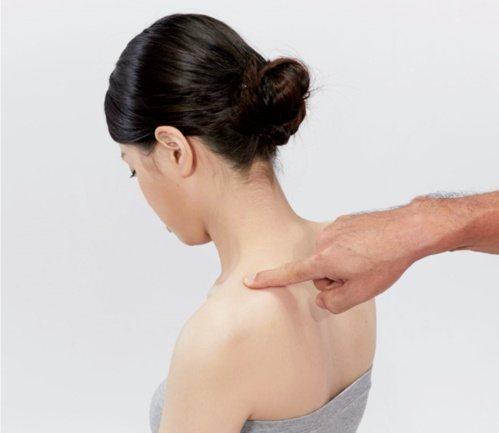 肩頸痠痛:步驟1~2過程中如果觸摸到密度特別高或較隆起之處,皆是痠痛點。 圖/蘋...