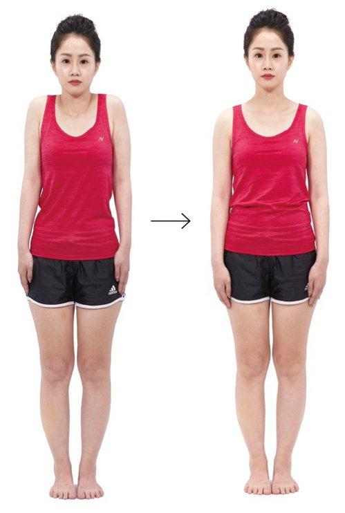 肩頸痠痛:肩頸痠痛透過聳肩、再放鬆的方式,讓斜方肌伸展和收縮。 圖/蘋果屋出版社...