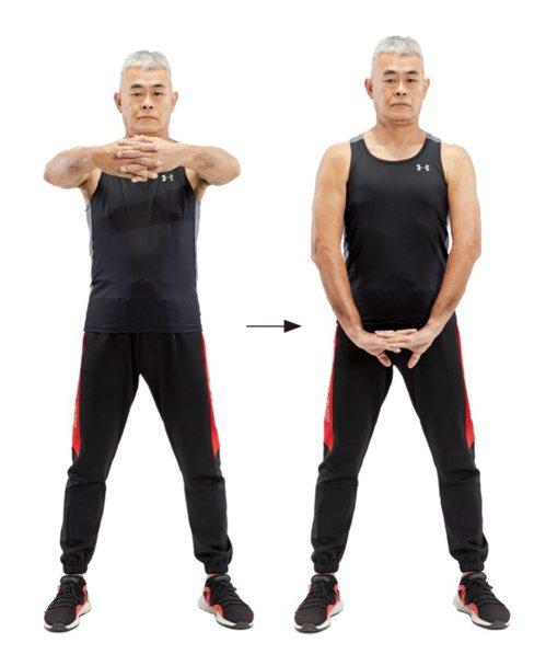 手臂疼痛:達人示範自主伸展1。 圖/蘋果屋出版社提供
