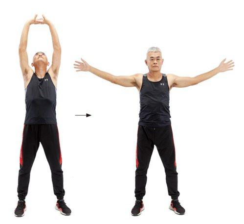 手臂疼痛:達人示範自主伸展2。 圖/蘋果屋出版社提供