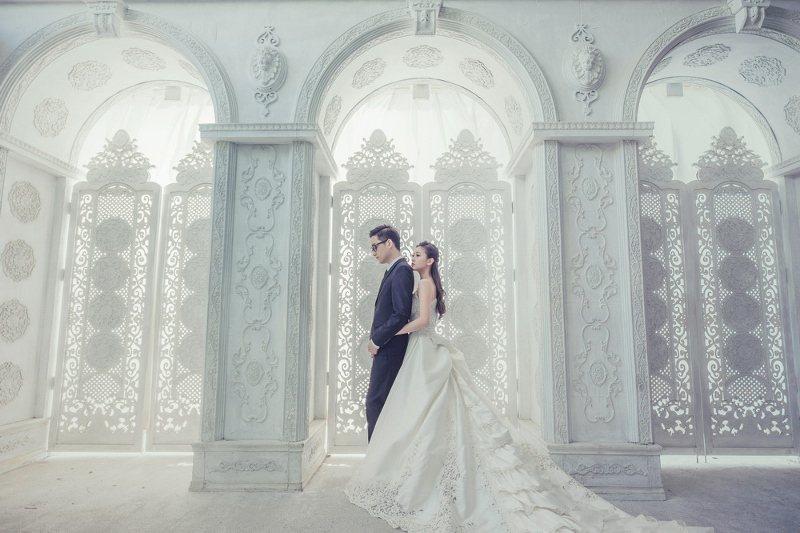 台北凱撒大飯店婚禮體驗日合作品牌「真愛國際婚紗」宣傳照。 業者/提供