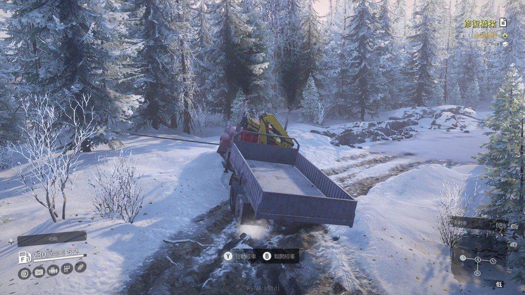 當你不幸陷入泥沼時,絞車是最好的朋友,利用它固定在其他支柱上可以硬拉脫困。